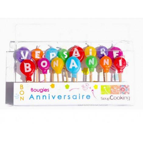 """Lot de 15 bougies """"Bon anniversaire"""" - Scrapcooking"""