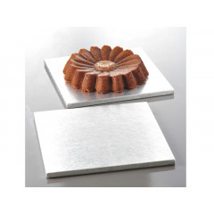 plateau à gâteau carré argenté 25 x 25 cm