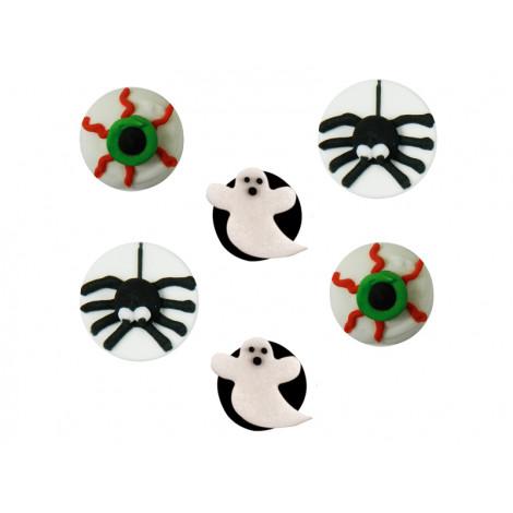 Décors en sucre 6 décors Halloween: fantôme, oeil et araignée -