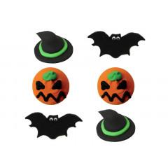 Décors en sucre 6 décors Halloween: citrouille, chapeau et