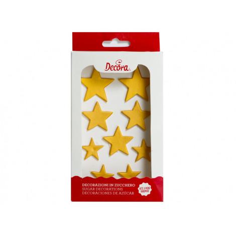 Décors en sucre 9 étoiles dorées - Décora