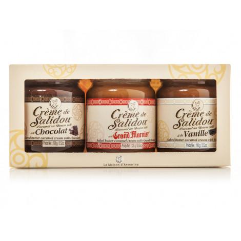 Lot de 3 crèmes de salidou: vanille, nature, chocolat (3 x 100 g) -