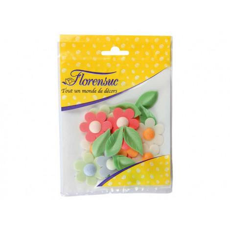 Lot de 12 fleurs d'anémones et 12 feuilles de liseron en azyme