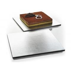 Plateau à gâteau rectangulaire argenté 35 x 35 cm