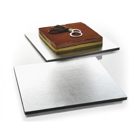 Plateau à gâteau rectangulaire argenté 35 x 35 cm - Ustensile Guy