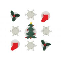 Décors en sucre 9 décors de Noël : flocon, sapin, chaussette et feuille de houx