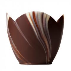 Coupes tulipes marbrées en chocolat x12