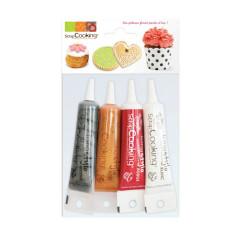 4 stylos (gel alimentaire): Rouge, Blanc, Doré, Argenté (4x20 gr) SCRAPCOOKING