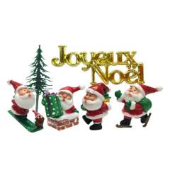Lot de 3 décorations : Père Noël + Joyeux Noël + Sapin