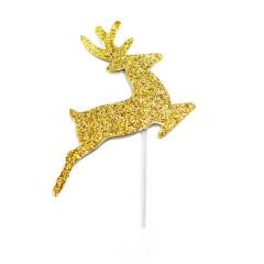 Lot de 12 décorations : Petits rennes dorés, 6,5 cm