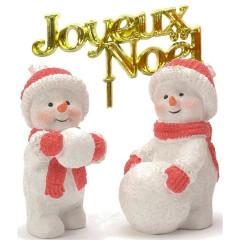 Lot de 2 décorations : Bonhomme de neige en résine + Joyeux Noël