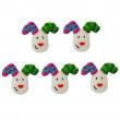 Décors en sucre x5 : Petites têtes de rennes, 4 cm