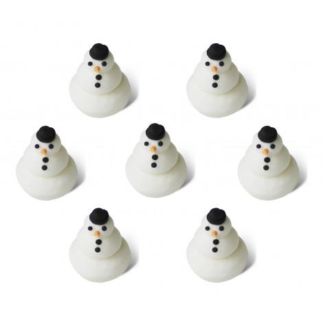 Décors en sucre x7 : Petits bonhomme de neige, 1,5 cm