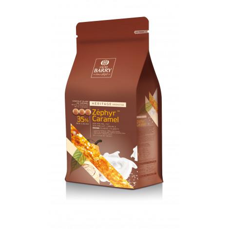 Pistoles de chocolat blanc 35% Zephyr Caramel, 1 kg, Cacao Barry