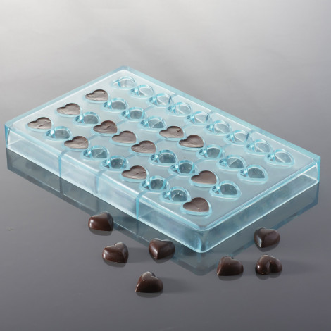 Moule à chocolats - Petits cœurs bombés (x36 simples ou x18 en 3D)
