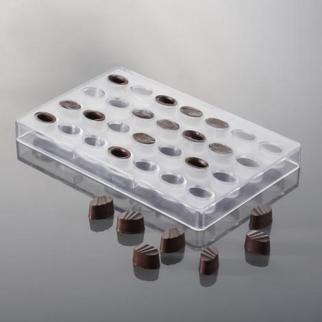 Moule à chocolat - Bonbons ovales striés (28 empreintes x 16 gr)