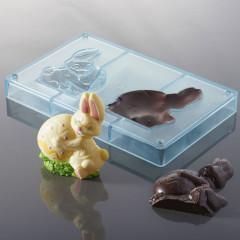 Moule à chocolat - Lapin et œuf (2 empreintes pour 1 lapin 3D)