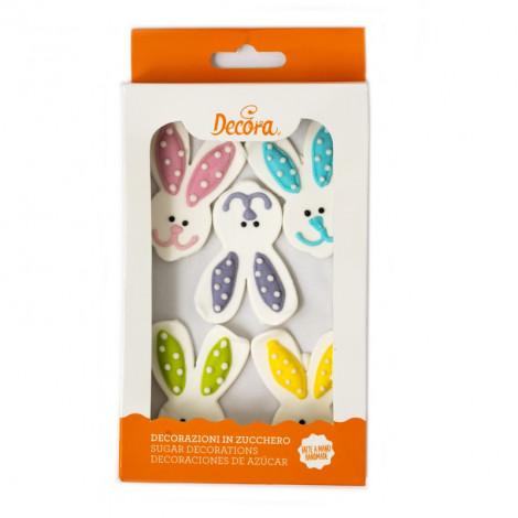 Décors en sucre x5 : Têtes de lapins colorées