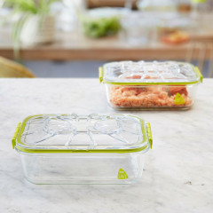 2 récipients Lunch box en verre Be Save® 1,4L + Couvercle
