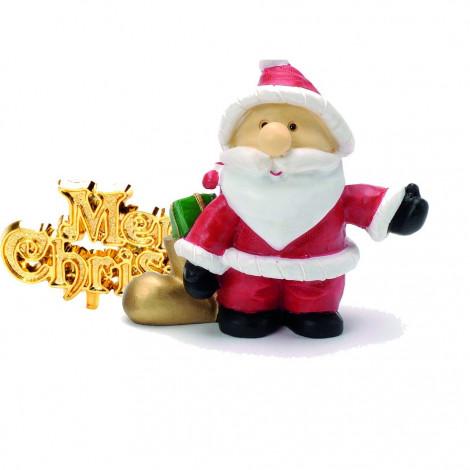 Lot de 2 décorations : Père Noël en résine + Merry Christmas