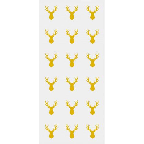 Lot de 20 sachets transparents à confiseries (+liens), Petites têtes de rennes dorés