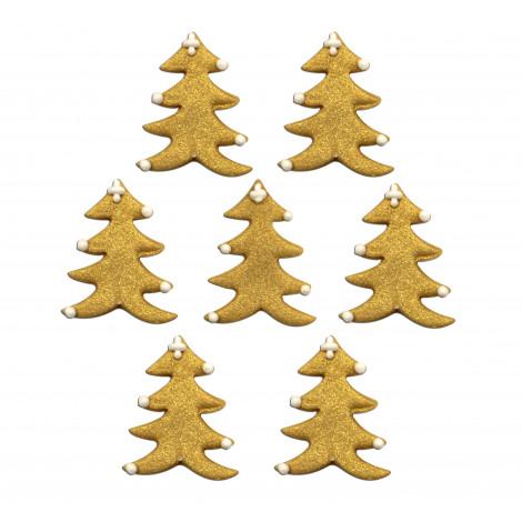 Décors en sucre x7 : Sapins dorés 3 cm