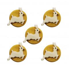 Décors en sucre x5 : Rennes blancs et dorés 3,5 cm
