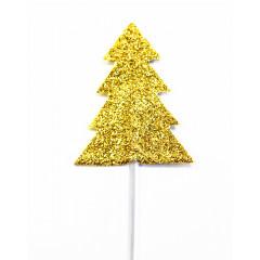 Lot de 12 décorations : Sapins dorés, 6,5 cm