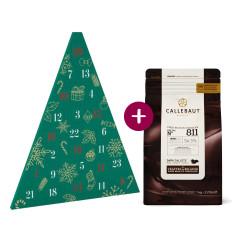 Kit Calendrier de l'avent Sapin + Pistoles de chocolat noir 54,5% 1 kg