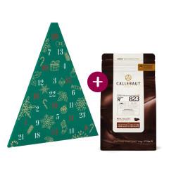 Kit Calendrier de l'avent Sapin + Pistoles de chocolat au lait 33,6% 1 kg