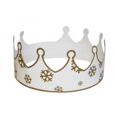 """Couronne """"flocon de neige"""" blanc et or"""
