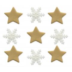 Décors en sucre x9 : Etoiles dorées et flocons, 2-2,5 cm