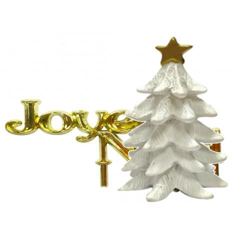 Lot de 2 décorations: Sapin blanc en résine + Joyeux Noël