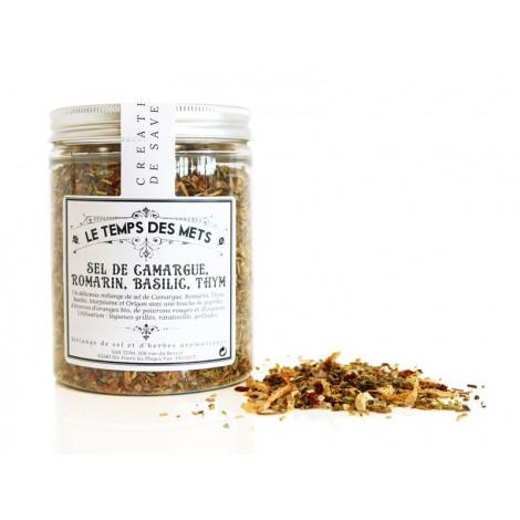 Mélange sel de Camargue, romarin, basilic, thym 140 g