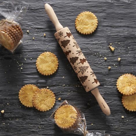 Rouleau à pâtisserie en bois gravé (motifs flocons)
