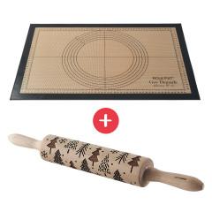 Rouleau à pâtisserie en bois gravé (motifs sapins)