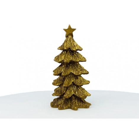 Grand sapin doré décoratif en résine 4x6,8cm