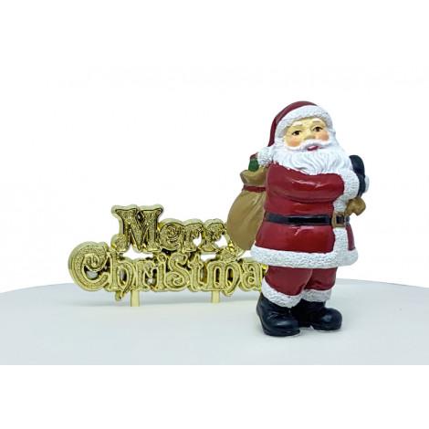 Lot de 2 décorations: Père Noël + Joyeux Noël