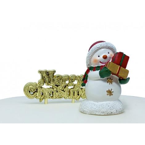 Lot de 2 décorations: Bonhomme de neige en résine + Joyeux Noël