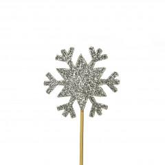 Lot de 12 décorations : Flocons argentés 3,5cm