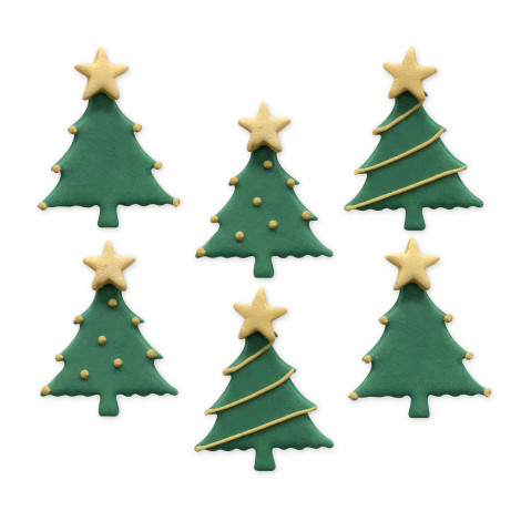 Décors en sucre x6: Sapins de Noël 3,7cm