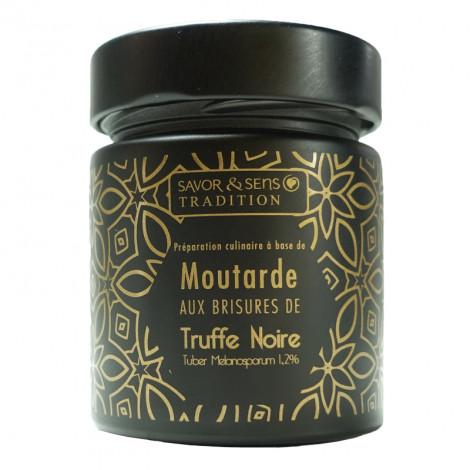 Moutarde aux brisures de truffe noire tuber mélanosporum 1,2% (pot noir)