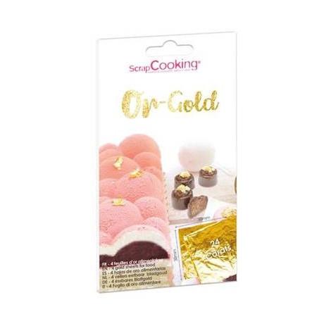 Carnet de 4 feuilles d'or alimentaire 24 carats