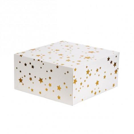 Grande boîte à gâteaux carrée 12,7x26x26cm - étoiles dorées