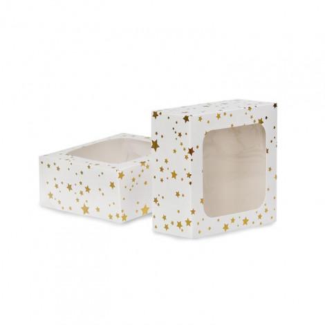 2 Boîtes à gâteaux carrées 7,5x16x16cm - étoiles dorées