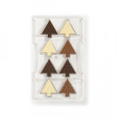 Moule à chocolat: 8 sapins de Noël