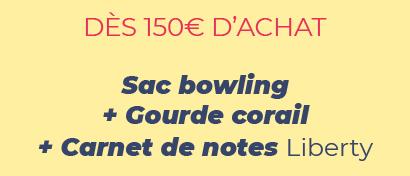 DÈS 150€ D'ACHAT - Sac bowling + Gourde corail + Carnet de notes Liberty