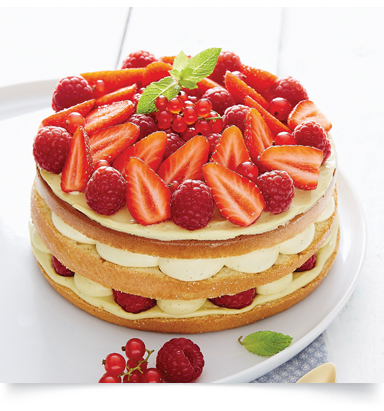 Layer cake pistache, fruits rouges