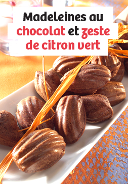 Madeleines au chocolat et zeste de citron vert
