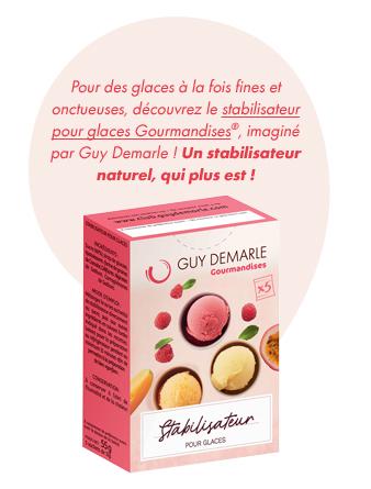 Pour des glaces à la fois fines et onctueuses, découvrez le stabilisateur pour glaces Gourmandises®, imaginé par Guy Demarle ! Un stabilisateur naturel, qui plus est !